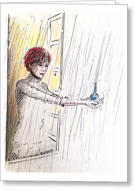 Reach Drawings Greeting Cards - Catching the Tears Greeting Card by Barbara Chase