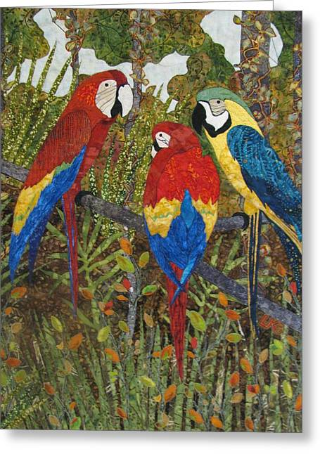 Lynda Boardman Art Tapestries - Textiles Greeting Cards - Catching Up on Gossip Greeting Card by Lynda K Boardman