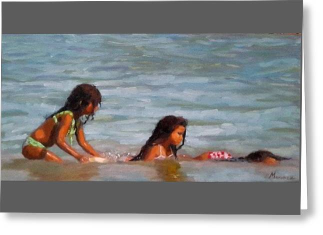 Childre Greeting Cards - Catching waves Greeting Card by Marinez Lucena