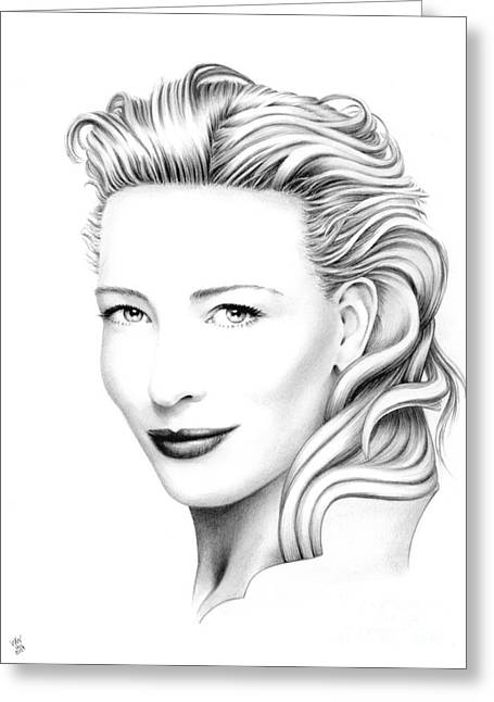 Cate Blanchett Greeting Cards - Cate Blanchett Portrait Greeting Card by Wu Wei