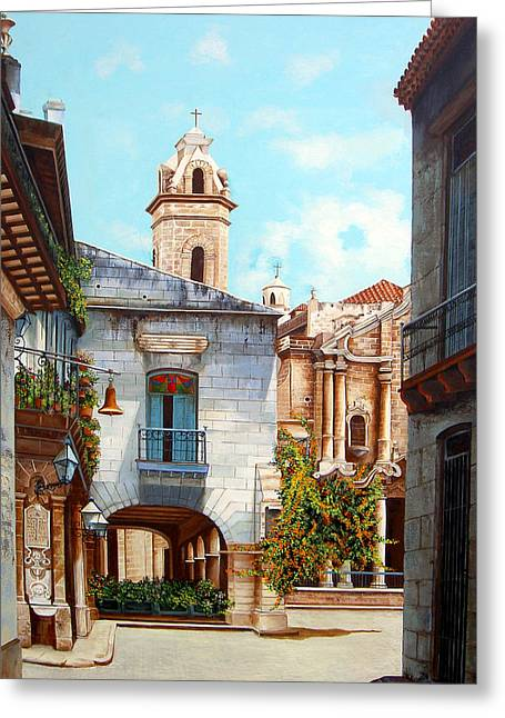 Dominica Alcantara Greeting Cards - Catedral de la Habana Greeting Card by Dominica Alcantara