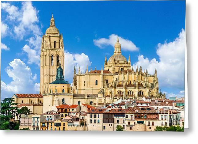 Castilla Greeting Cards - Catedral de Santa Maria de Segovia, Castilla y Leon, Spain Greeting Card by JR Photography