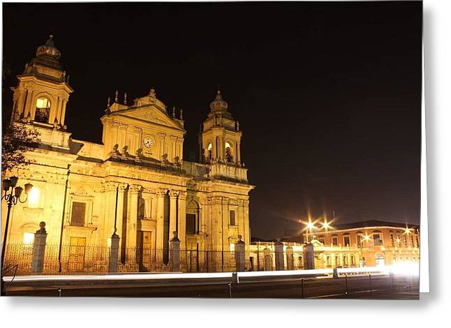 Civilization Pyrography Greeting Cards - Catedral en Antigua Guatemala Greeting Card by Marvin Grijalva