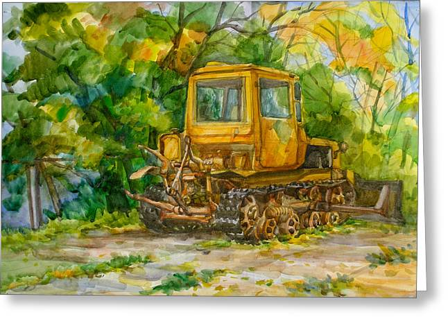 Hardware Paintings Greeting Cards - Caterpillar On Backyard Greeting Card by Natoly Art