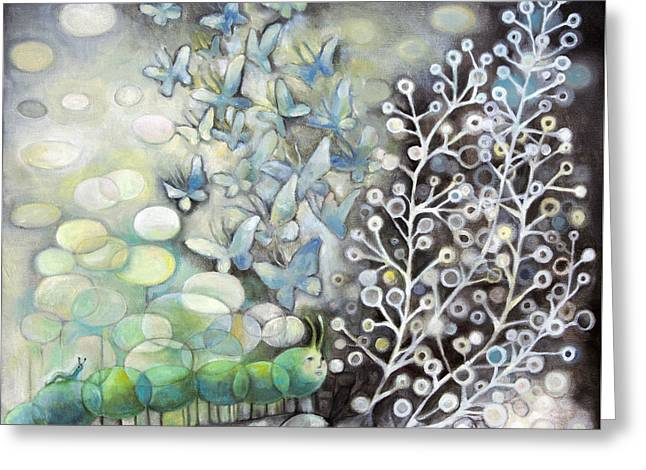 Tree Roots Paintings Greeting Cards - Caterpillars UnderGroundLoveSeries Greeting Card by Manami Lingerfelt