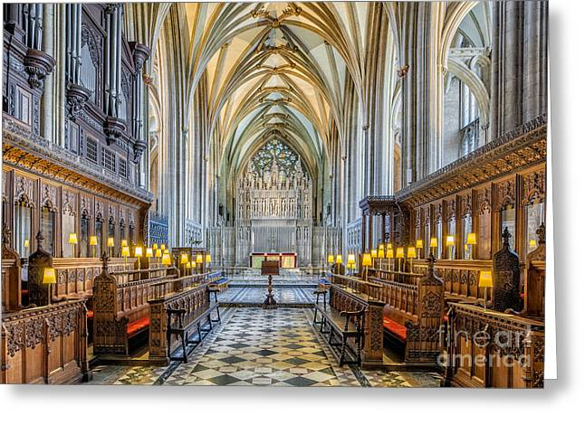 Gothic Cross Greeting Cards - Cathedral Aisle Greeting Card by Adrian Evans