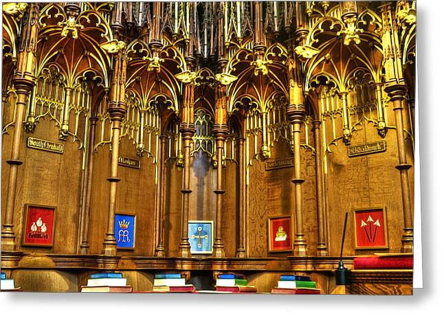 Soaring Tower Greeting Cards - Cathedral Architecture 02 Greeting Card by Svetlana Sewell