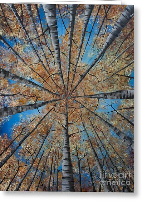 Fall Trees Greeting Cards - Cathedral Aspens Greeting Card by Shawn Warren