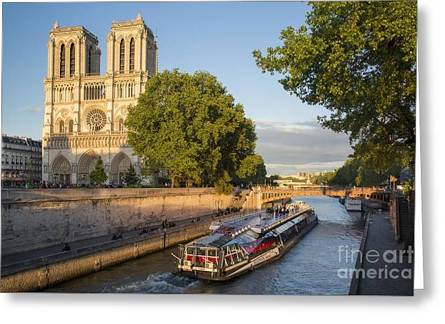 Boat Cruise Greeting Cards - Cathedral by the River - Paris Greeting Card by Brian Jannsen