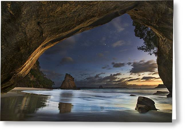 Rocks Greeting Cards - Cathedral Cove Greeting Card by Yan Zhang