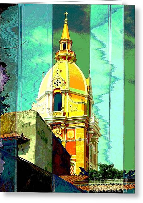 Cloth Greeting Cards - Cathedral de San Pedro Claver Cartagena Colombia Greeting Card by Ann Johndro-Collins