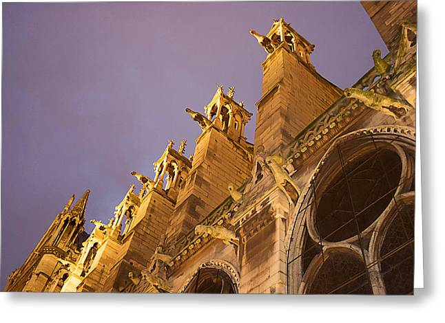 West Paris Greeting Cards - Cathedral Notre Dame Greeting Card by Art Block Collections