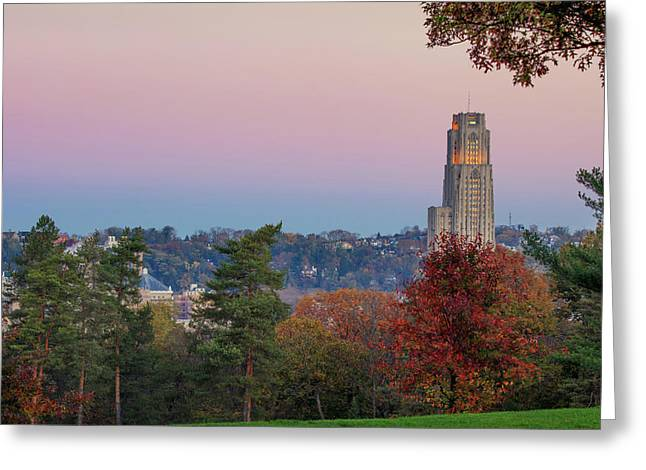 Cathedral Of Learning Greeting Card by Emmanuel Panagiotakis