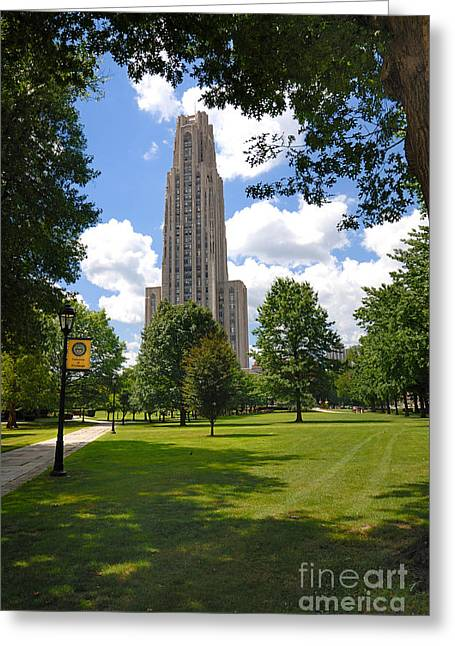 Cathedral Of Learning Greeting Cards - Cathedral of Learning University of Pittsburgh Greeting Card by Amy Cicconi