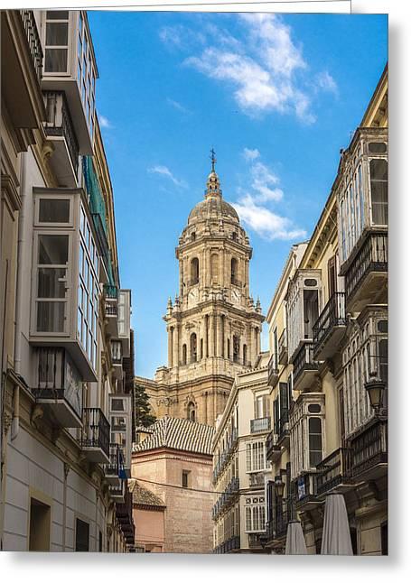 Malaga Greeting Cards - Cathedral of Malaga - Malaga Spain Greeting Card by Jon Berghoff