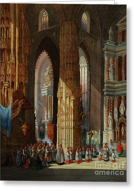 1833 Greeting Cards - Cathedral Of San Miguel Greeting Card by MotionAge Designs