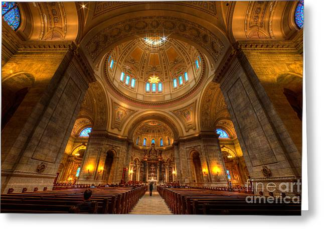 Shudder Greeting Cards - Cathedral of St Paul Wide Interior St Paul Minnesota Greeting Card by Wayne Moran