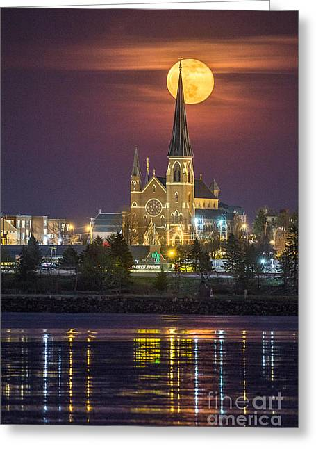 Recently Sold -  - The Church Greeting Cards - Cathedral of the Immaculate Conception with Full Moon Greeting Card by Benjamin Williamson