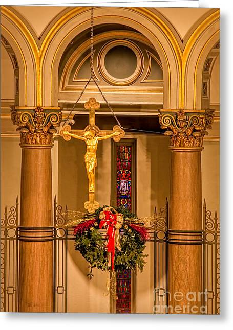 Cathedral Of The Sacred Heart Crucifix Greeting Card by Jemmy Archer