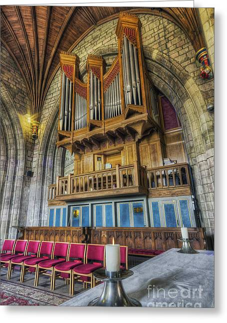 Church Music Greeting Cards - Cathedral Organ Greeting Card by Ian Mitchell