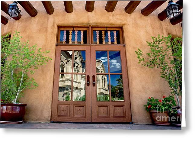 Entrance Door Greeting Cards - Cathedral Reflected Greeting Card by Glennis Siverson