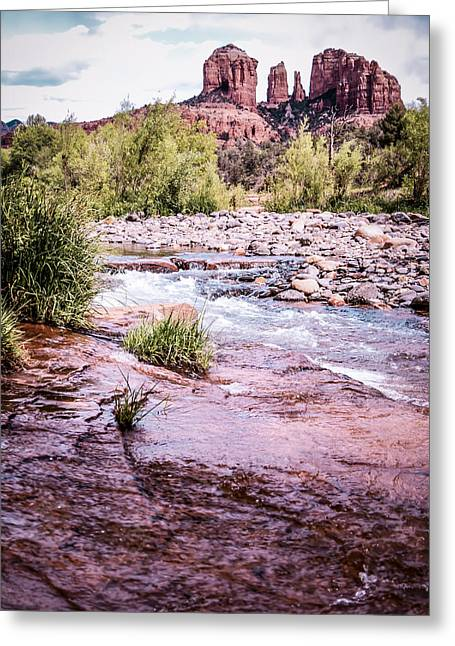 Red Rock Crossing Greeting Cards - Cathedral Rock at Oak Creak Greeting Card by Terry Ann Morris