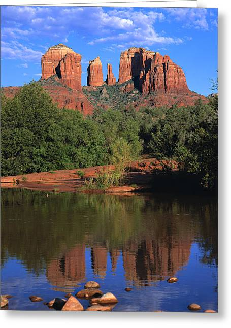 Oak Creek Greeting Cards - Cathedral Rock Greeting Card by Brad Kazmerzak