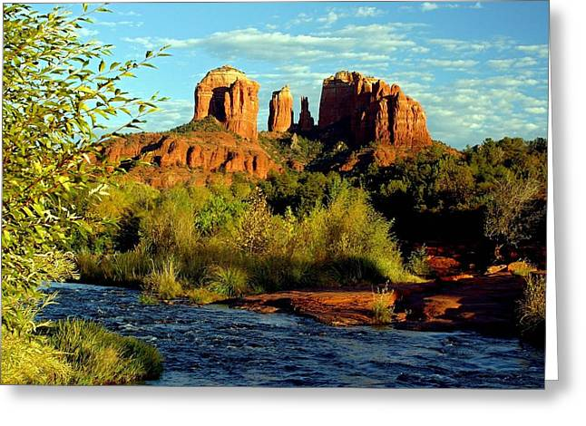 Oak Creek Greeting Cards - Cathedral rock Greeting Card by Larry Sobel