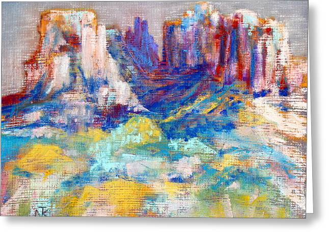 Cathedral Rock Pastels Greeting Cards - Cathedral Rock Greeting Card by Nina Tyksinski