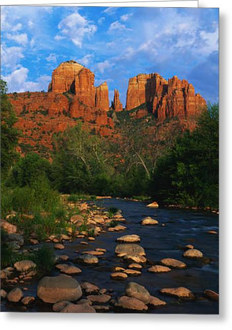 Cathedral Rock Greeting Cards - Cathedral Rock Oak Creek Red Rock Greeting Card by Panoramic Images