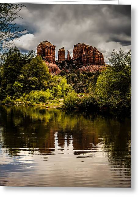 Red Rock Crossing Greeting Cards - Cathedral Rock Reflections Greeting Card by Terry Ann Morris