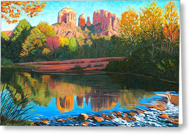 Red Rock Crossing Greeting Cards - Cathedral Rock - Sedona Greeting Card by Steve Simon