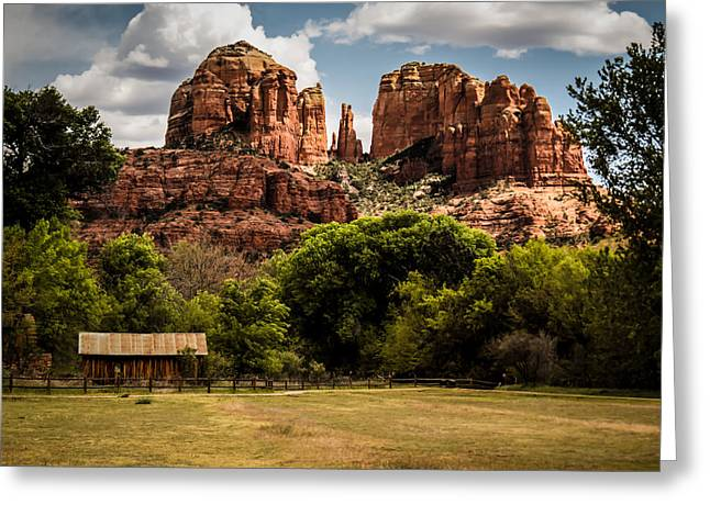 Red Rock Crossing Greeting Cards - Cathedral Rock Greeting Card by Terry Ann Morris