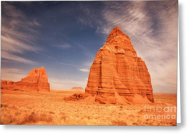 Monolith Greeting Cards - Cathedral Valley Utah Greeting Card by Carolyn Rauh
