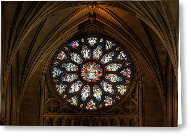 Bible Scene Greeting Cards - Cathedral Window Greeting Card by Adrian Evans