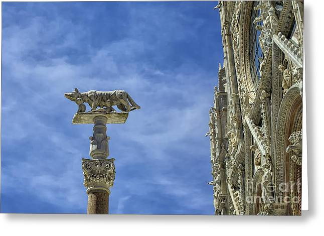 Lovely Art Greeting Cards - Cathedral with column of wolf and Remus and Romulus in Siena Greeting Card by Patricia Hofmeester