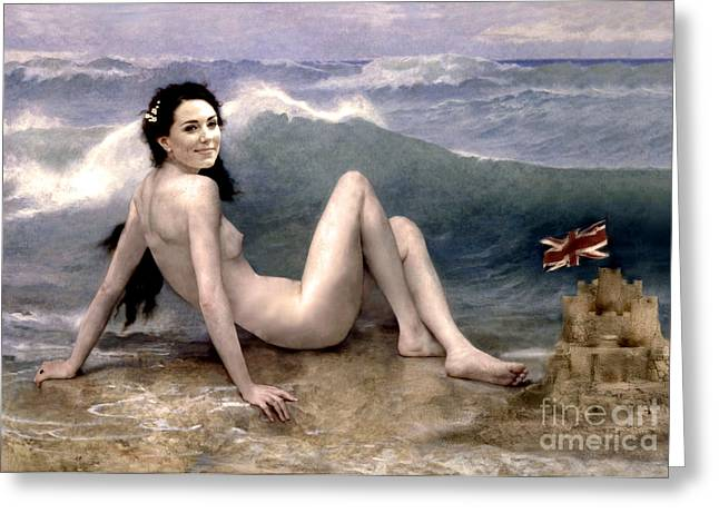 CATHERINE DUCHESS OF CAMBRIDGE NUDE  Greeting Card by Karine Percheron-Daniels