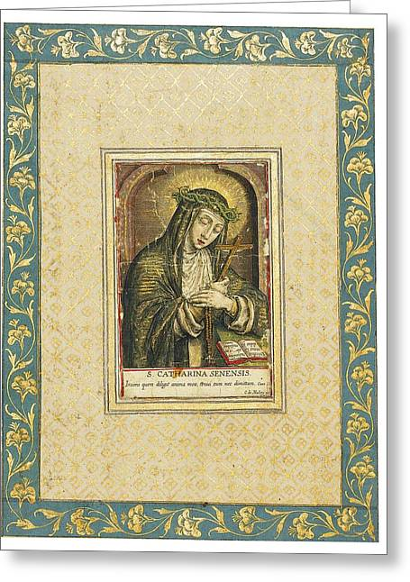 Catherine Of Siena Engraving Greeting Card by Carel de Mallery