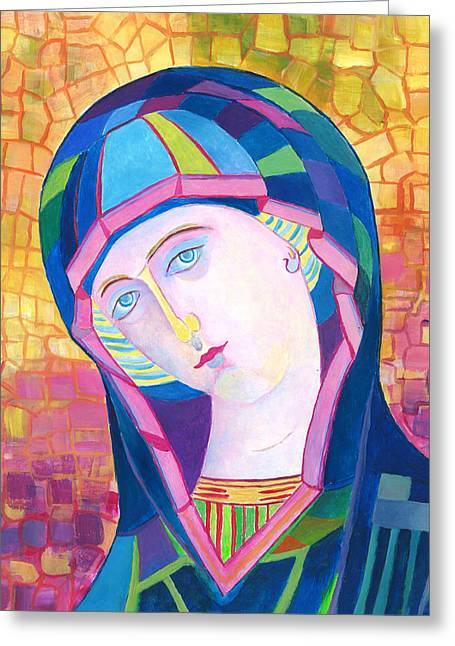 Our Lady Of Lourdes Catholic Art Greeting Card by Magdalena Walulik