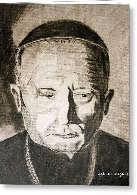 Religion Pastels Greeting Cards - Catholic Cardinal Jozsef Mindszenty Greeting Card by Arline Wagner