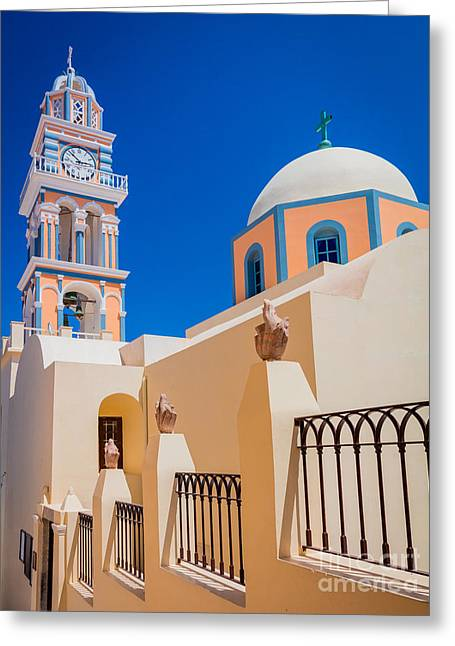 Aegean Sea Greeting Cards - Catholic Cathedral Church of Saint John The Baptist Greeting Card by Inge Johnsson
