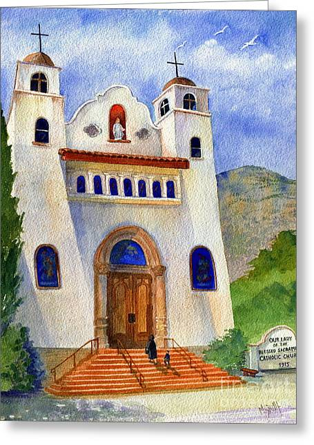The Wooden Cross Greeting Cards - Catholic Church Miami Arizona Greeting Card by Marilyn Smith