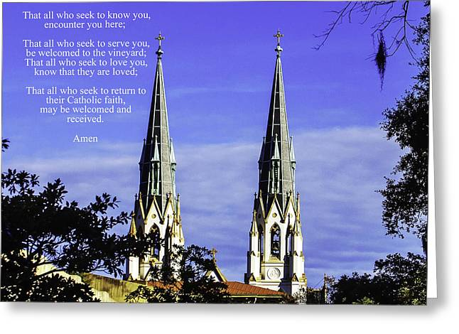 The Houses Greeting Cards - Catholics Come Home Prayer Greeting Card by Jamie Anderson