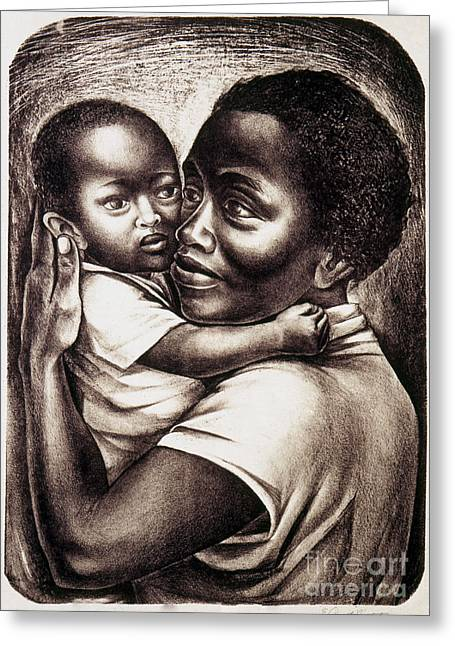Art Lithographs Greeting Cards - Catlett: Mother, 1959 Greeting Card by Granger