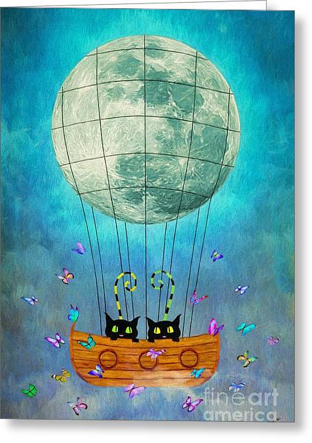 Cute Mixed Media Greeting Cards - Cats and Moon Greeting Card by AnaCB Studio
