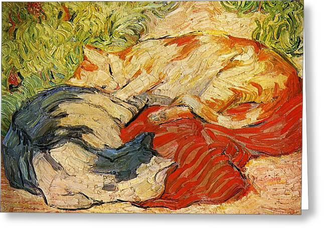 Cats Greeting Card by Franz Marc