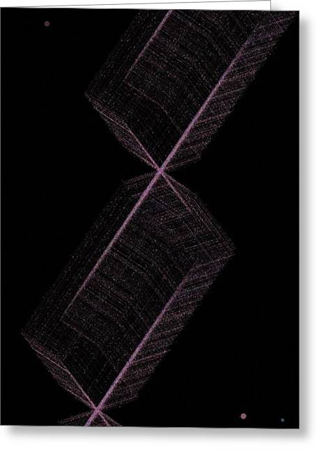 Generative Abstract Greeting Cards - Cats Ladder To The Moon 9-12-2015 #2 Greeting Card by Steven Harry Markowitz