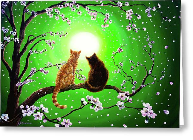 Black Cat Fantasy Greeting Cards - Cats on a Spring Night Greeting Card by Laura Iverson