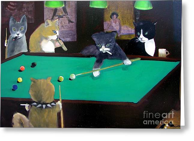 Cigar Paintings Greeting Cards - Cats Playing Pool Greeting Card by Gail Eisenfeld