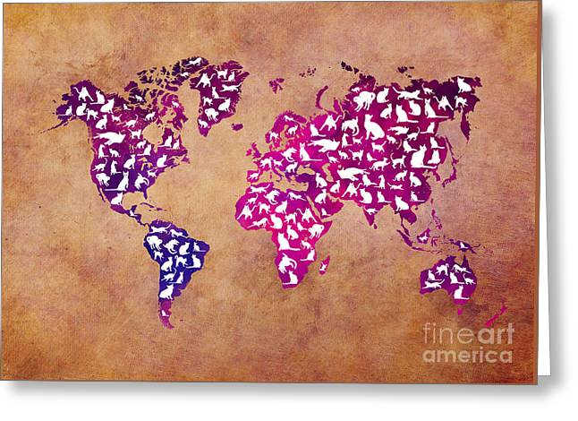 Cats World Map Greeting Card by Justyna JBJart